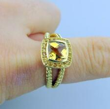 DAVID YURMAN 7MM CITRINE & YELLOW SAPPHIRE PETITE ALBION RING 18K GOLD