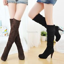 Women Winter block Heel Over The Knee Thigh High Leg Faux suede Knee Party Boots