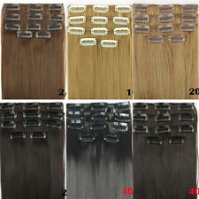 """24"""" 62cm Women Long Straight 5 Pieces Clip In On Full Head Hair Extensions 15f"""