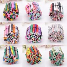 50pcs 3D Nail Art Tips Stickers Fimo Canes Stick Rods Polymer Clay Decor W3LE