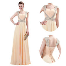 Beaded Women Formal Sequined Evening Dress Bridesmaid Cocktail Prom Dresses Red
