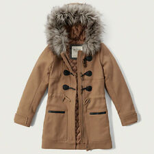 NWT Abercrombie&Fitch Hooded Wool Duffle Jacket Parka Toggle Coat Camel S/L/XL