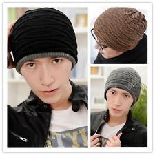 Hot Mens Women Crochet Knit Plicate Baggy Ski Beanie Wool Hat Double Side Cap  X