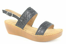 Comfy Soles By Bamboo Solace-03 Black Slingback Wedge Sandals Womens NIB