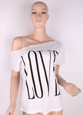 NEW Sexy Womens Off Shoulder Short Sleeve Tops T-Shirt Loose Blouse White Casual