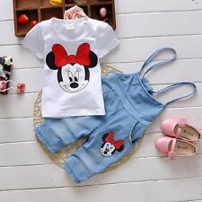 Kids Baby Girls Cotton Tops T-shirt+Short Pants Rompers Minnie Summer Clothes