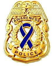 Blue Awareness Ribbon Pin Police Badge Security Sheriff Cop Gold Plated New