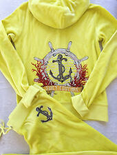 Juicy Couture Anchor Tracksuit Yellow JC Sailor Velour Hoodie Pants Set M S