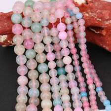 New 15 Inch /Bunch Rainbow Agate Stone Loose Round Beads Necklace Accessory