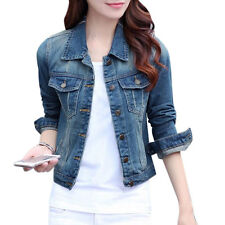 Women Distressed Detail Button Closure Cropped Jean Jacket