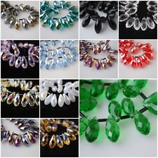30pcs Teardrop Glass Crystal Spacer Beads Jewelry Finding Pendant 10x20mm Charms