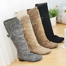 Chic Womens Winter Biker Lace Low Heel Wide Calf Knee High Lady Boots Plus Size