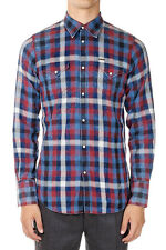 DSQUARED2 Dsquared² New Men Blue Checked Cotton Shirt Made in Italy NWT
