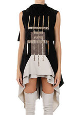 RICK OWENS Women Black BLOSSOM EMBROIDERED TUNIC Top Italy Made