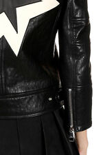 NEIL BARRETT Women Black Motorcycle Leather Jacket Made in Italy New Original