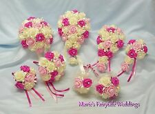WEDDING FLOWERS BRIDE BRIDESMAID F/GIRL BOUQUET PACKAGE FUCHSIA PINK +LIGHT PINK