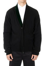 HAIDER ACKERMANN Men Virgin Wool and Cashmere Black Zipped Sweater Italy Made