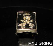 BRONZE  HITMAN SIGNET RING SKULL WITH CROSSED AUTOMATIC GUNS BLACK ANY SIZE