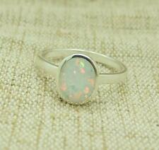 Created White Opal 925 Sterling Silver Ring Jewellery Real Little Gems