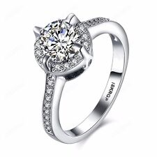 Women Engagement Wedding Nice Cubic Zirconia Ring 18K White Gold Plated Jewelry