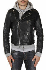 DSQUARED2 Dsquared² Men Leather Jacket coat Black With Cotton Hood Motorcycle