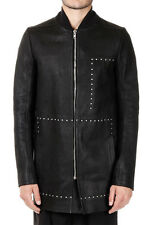 RICK OWENS Man Leather and Virgin Wool Coat with Applied studds