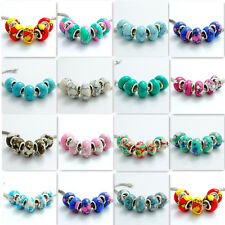 5pcs Turquoise Silver Charm round Spacer Beads Fit EUROPEAN Charm Bracelets DIY