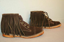 9 M BROWN SUEDE LEATHER NOS Vtg 60s NEW FRINGED RAMBLERS HIPPIE ANKLE BOOT Shoe