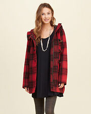 NWT Hollister by Abercrombie&Fitch Plaid Wool Blend Parka Coat Jacket Red XS M
