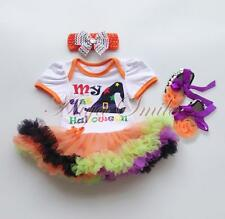 3PCS Baby Girls 1st Halloween Outfits Clothes Witch Hat Romper Tutu Dress 0-12M