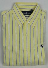 Ralph Lauren Yellow Blue Custom Oxford Stripe Dress Shirt Navy Pony NWT