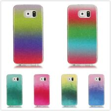 For Samsung Multicolor Gradient Bling Glitter IMD TPU Soft Back Case Clear Cover