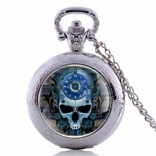 Skull Head Retro Gift Necklace Chain Pocket Pendant Watch Quartz Steampunk New