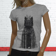 Wild Animal Zoo Puppy Forest Coyote Twilight Siberian Wolf Womens Gray T-Shirt