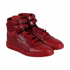 Puma Sky II Hi Snake V Mens Red Nubuck High Top Lace Up Sneakers Shoes