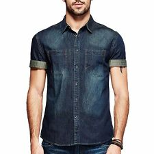 M L XL XXL  Mens Jeans Shirt Short Sleeve Slim Fitted Button Front Shirt Blue