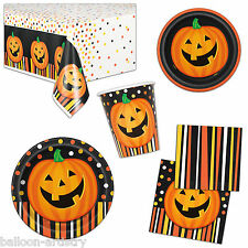 Spooky Halloween Smiling Pumpkin Party Plates Napkins Cups Tableware Listing