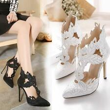 Sexy Embroidered Rhinestones High Heel Womens Party Pointy Toe Hollow Out Shoes