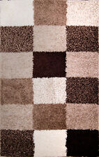 Beige Brown Taupe Modern Area Shag Rug Contemporary Cubes Boxes Shaggy Carpet