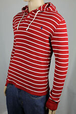 Polo Ralph Lauren Red Stripe Waffle Thermal Buttoned Hoodie Navy Pony NWT