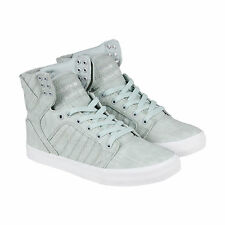 Supra Skytop Mens Grey Textile High Top Lace Up Sneakers Shoes