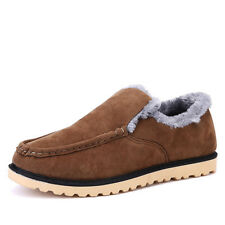 Mens Fashion Warm Fleece Lined Suede Driving Shoes Casual Slip On Moccasins Q107
