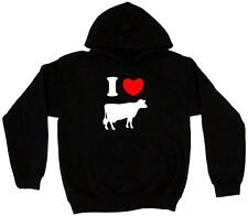 I Heart Love Cow Silhouette Men's Hoodie Sweat Shirt Pick Size Small-5XL