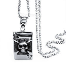Mens Boys Silver Skull grim Reaper Pendant w/ Stainless Steel Chain Necklace