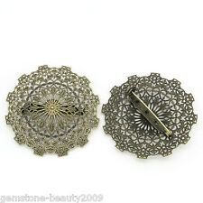 Wholesale HOT! Bronze Tone Round Cabochon Setting Brooches Hollow Flower
