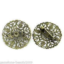 Wholesale HOT! Copper Hollow Brooches Pins Round Bronze Tone 3.2cmx3.1cm