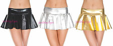 Sexy WET LOOK MINI SKIRT Twirly SCHOOL GIRL Black Silver or Gold MICRO MINI OS