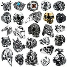 316L Stainless steel steam men punk ring gothic rings skull cool Men's Jewelry C
