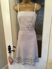 STUNNING LADIES FULLY LINED SILVER/GREY 100% LINEN DRESS BY PER UNA - UK 12R