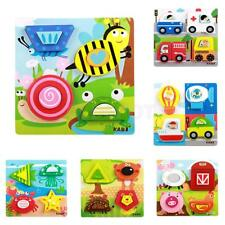 Children Colorful Chunky Wooden Puzzle Jigsaw Baby Toddler Educational Toy